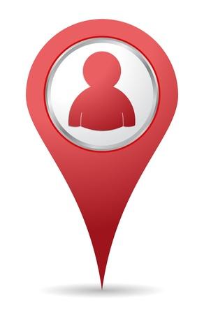 Illustration pour location people icon in red color - image libre de droit
