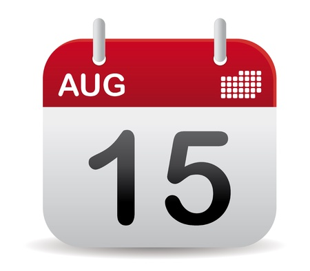 red august calendar stand up