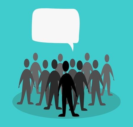 Illustration for crowd speak concept in green background - Royalty Free Image