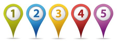 Illustration pour color location number pins - image libre de droit