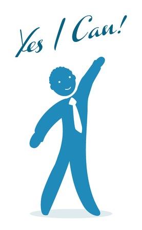 Illustration pour Yes I can, motivational men - image libre de droit