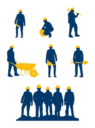 workers silhouette with yellow tools and helmet
