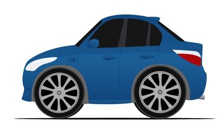 mini blue sport car, fast moving