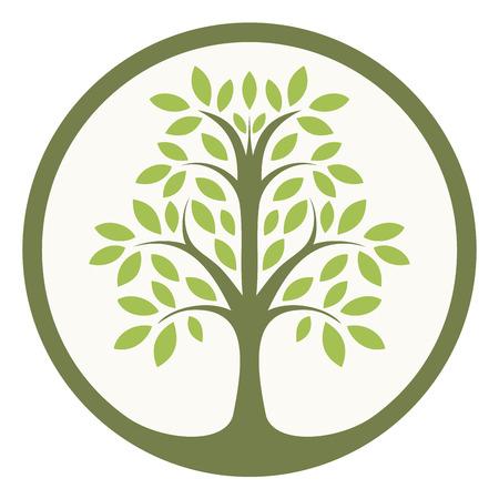 Illustration pour Green tree of life in a circle - image libre de droit