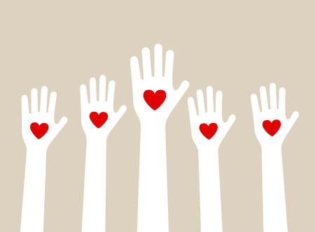 Illustration pour hands raising love with heart - image libre de droit