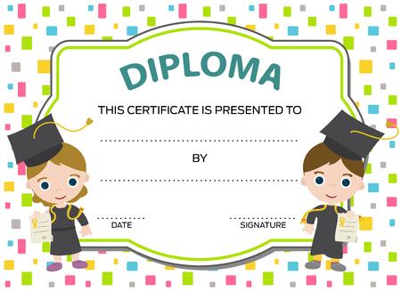 Illustration pour kids diploma with two graduates - image libre de droit