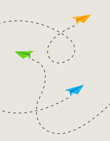 Illustration for set of color paper airplanes in route - Royalty Free Image