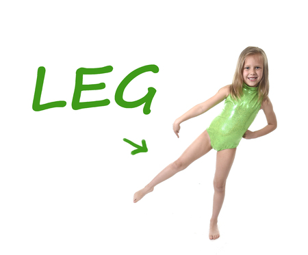 Photo pour 6 or 7 years old little girl with blond hair and blue eyes smiling happy posing isolated on white background pointing leg  in learning English language school education body parts card set - image libre de droit