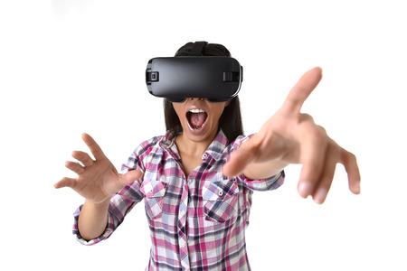 Photo pour young attractive happy woman excited using 3d goggles watching 360 virtual reality vision enjoying the fun cyber experience in vr simulation reality and new gaming technology concept - image libre de droit