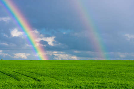 Photo pour double rainbow in the blue cloudy dramatic sky over green field of wheat illuminated by the sun in the country side - image libre de droit
