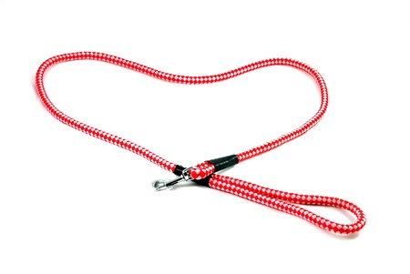 Red pet leash iseolated on white background