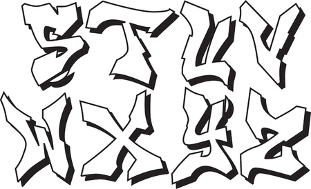 graffiti font alphabet part 3: Royalty-free vector graphics