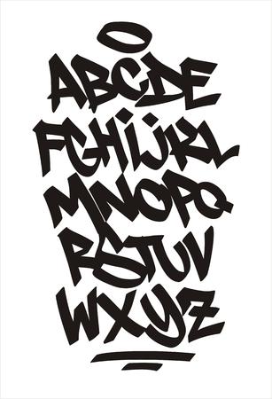 Vector graffiti font. Handwritten alphabet