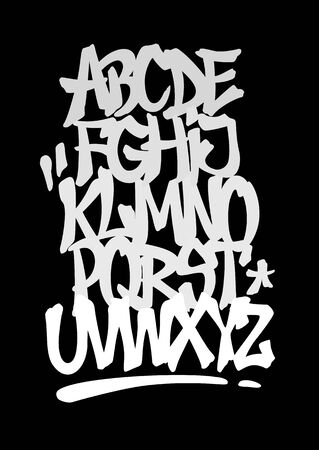 Hand lettering graffiti font with decorations. Vector alphabet