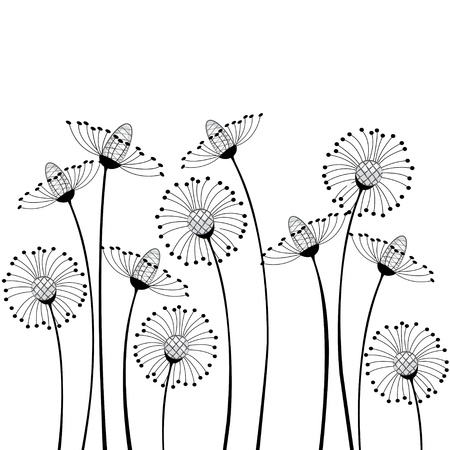 meadow flowers on white background