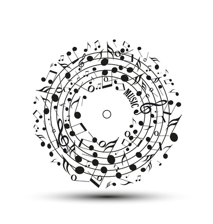 Decoration of musical notes in the shape of a circle