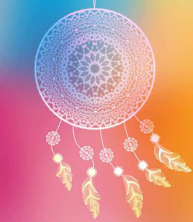 Dream catcher with feathers on colorful background