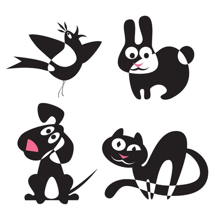 Abstract silhouettes of animals - rabbit, dog, cat, birdのイラスト素材