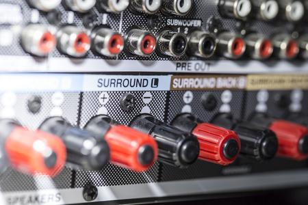 Foto de amplifier connectors - detail of sockets - Imagen libre de derechos