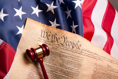 Usa Flag, Gavel  and US Constitution concept.