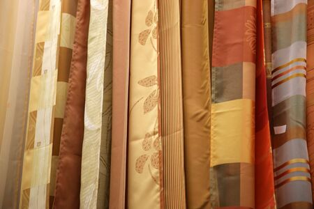 Samples of color of fabrics in shop