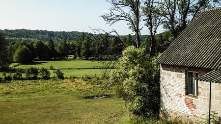 Country houses and hills in Slawki, Kashubian Region, Poland.