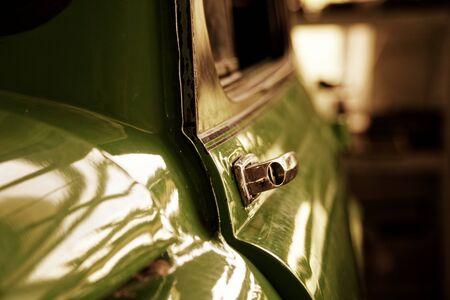 Photo for Edge door of car Door handle of retro classic car, Vintage tone. - Royalty Free Image