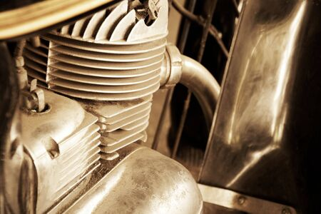 Photo for Old motorcycle motor engine in vintage photo. - Royalty Free Image
