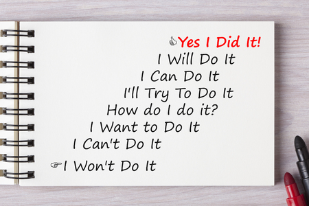 Photo pour Yes I Did It! written in notebook with marker pen on wooden desk.Business concept. - image libre de droit