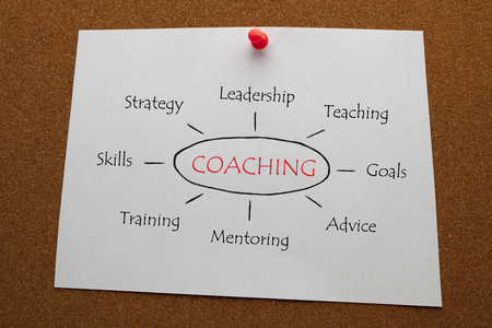 Photo pour COACHING diagram on white paper sheet pinned on cork board. Business concept - image libre de droit