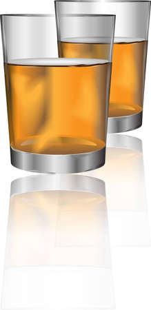 Two glasses of alcohol drink with reflection for different uses
