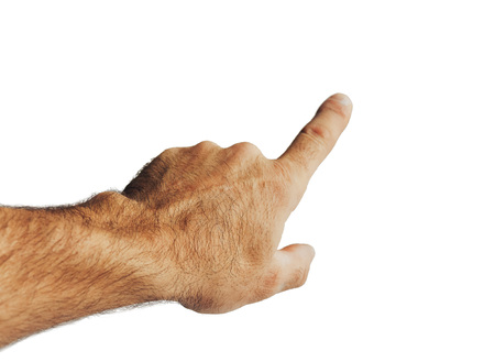 Photo for Male hand points the finger. Isolated on white background - Royalty Free Image