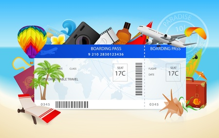 Foto de Travel. Conceptual vector illustration of boarding pass with vacation equipment - Imagen libre de derechos