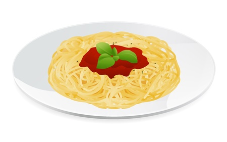 Vector illustration of spaghetti bolognese with tomato sauce  Italian pasta