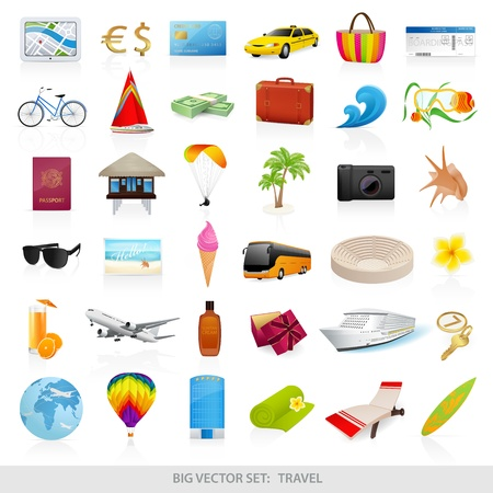 Photo for Big vector set  travel  icons  - detailed illustrations - Royalty Free Image