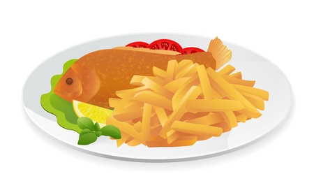Fish and Chips on a plate. Popular take-away food in the United Kingdom. Vector illustration on white background