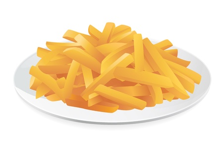 French fries on a plate. Vector illustration on white background