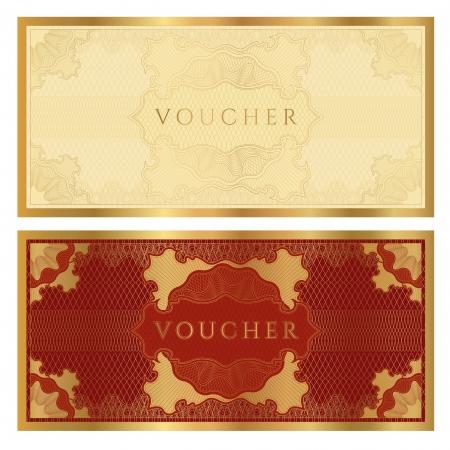 Voucher / coupon. Guilloche pattern