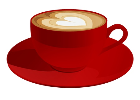 Red cup of cappuccino with heart symbol  Coffee  Vector illustration on white background