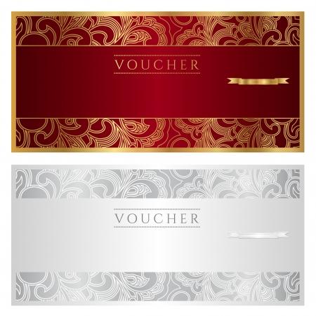 Voucher   coupon   gift  Floral pattern  Vector Illustration