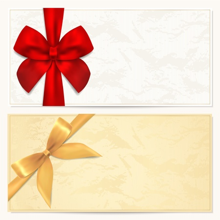 Voucher template with floral pattern, border and Gift red and gold bow  ribbons   This background design usable for gift voucher, coupon, invitation, certificate, diploma, ticket etc Illustration in golden and white colors
