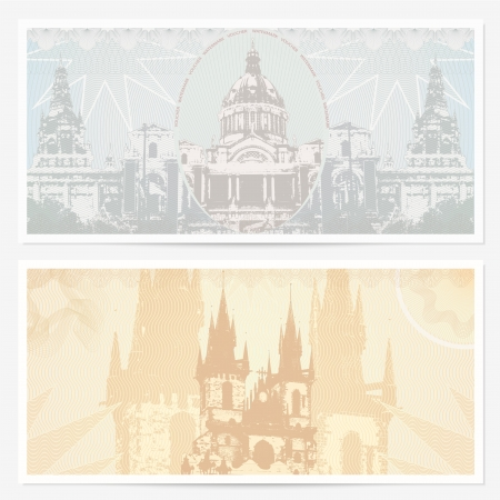 Gift Voucher / coupon template with guilloche pattern (watermarks), border and landmarks (Famous Places).