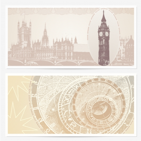 Background design with Big Ben and the Parliament (London, Great Britain) and Astronomical Clock (Prague, Czech Republic) usable for gift card