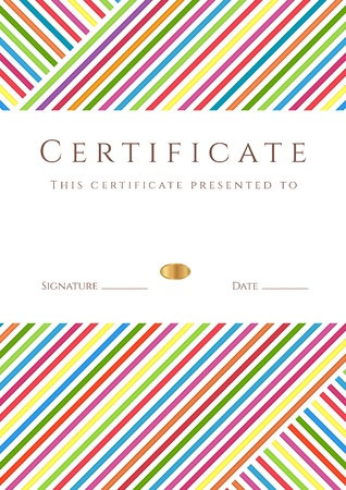 Vertical certificate of completion (template) with colorful stripy pattern and place for text. This design usable for diploma, invitation, gift voucher, coupon, official, ticket or different awards. Vector
