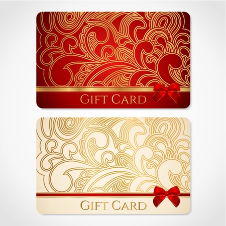 Red and gold gift card  discount card  with floral pattern and red bow  ribbons   This background design usable for gift coupon, voucher, invitation, ticket etc  Vector