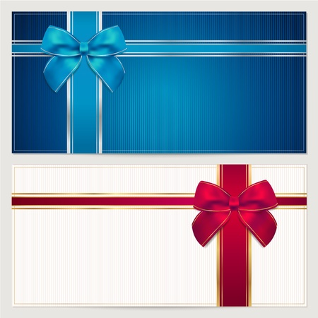 Gift card template with corrugated texture, border and blue and red bow  ribbons   This background design usable for gift voucher, coupon, invitation, certificate, diploma, ticket etc  illustration in blue and maroon colors