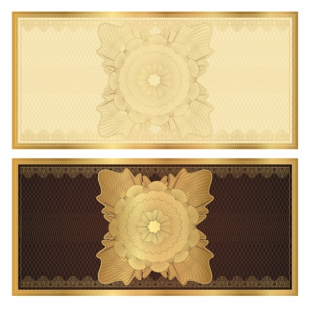 Gift certificate  Voucher  template with guilloche pattern  watermarks  and border  Background usable for coupon, banknote, money design, currency, note, check etc  Vector in golden and brown colors