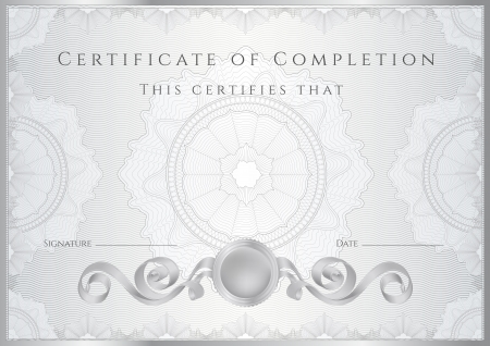 Silver Certificate   Diploma of completion  design template   sample background  with guilloche pattern  watermarks , border  Useful for  Certificate of Achievement, Certificate of education, awards