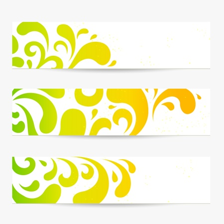 set  Banners  Colorful abstract backgrounds with floral pattern  swirl, scroll, drop shape   Contemporary design useful for website  web header layout , flyer, information ads, ticket, coupon