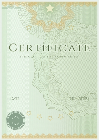 Green Certificate   Diploma of completion  design template   sample background  with guilloche pattern  watermarks , border